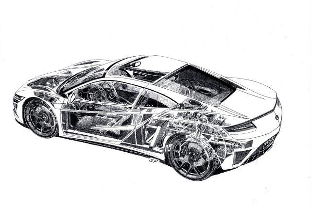 NSX Cutaway Sketch by Legendary Artist Shin Yoshikawa