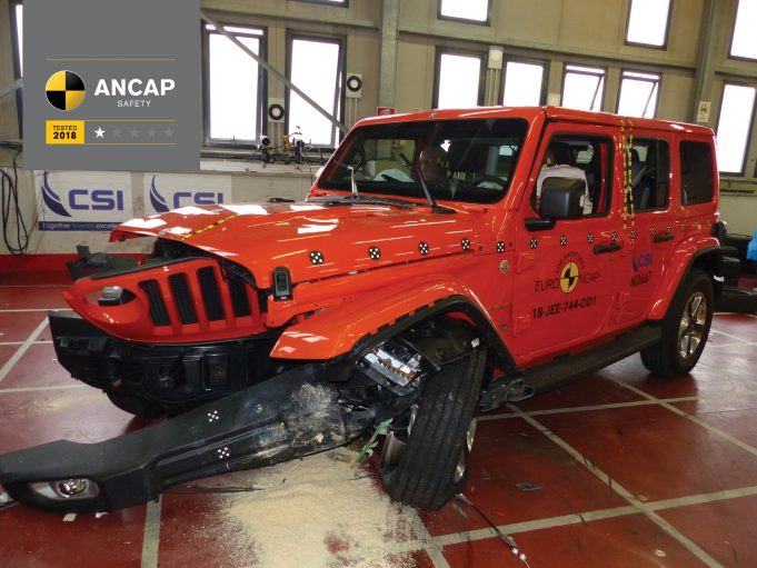 2019 Jeep Wrangler ANCAP test vehicle