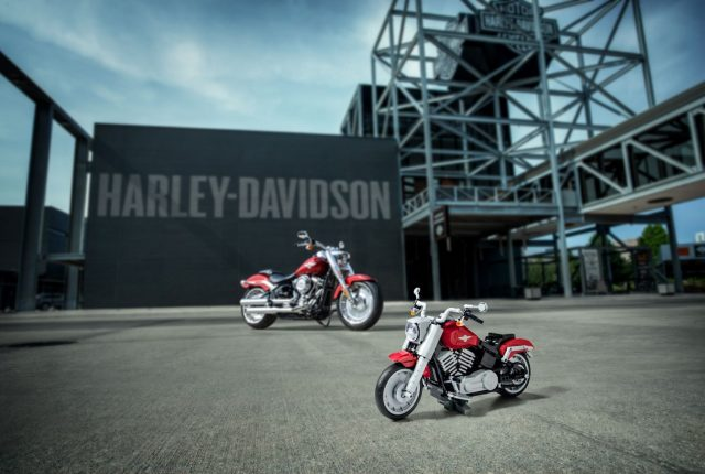 The Harley-Davidson Fatboy and its LEGO model