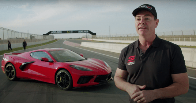 Craig Lowndes tests the 2022 C8 Corvette at The Bend